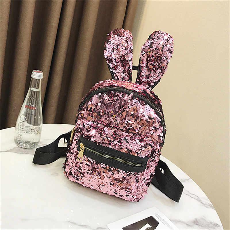 Модные блёстки для женщин кожа яркий рюкзак Bling женский Mochila обувь для девочек блеск школьные ранцы уши кролика блестка сумка