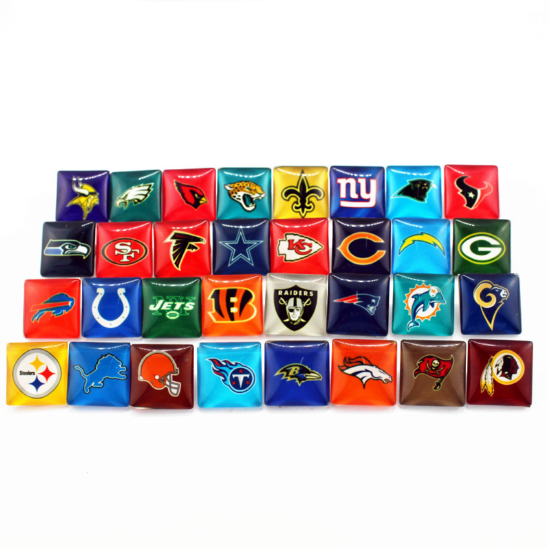 New arrive 50pcs/lot nfl teams glass Snap Button Print Glass Snap Charms Fit 18mm DIY Ginger Snap Bracelet Jewelry image