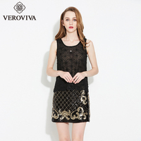 SUNVIEW Women Fashion Black Lace Sequin Vest Sexy Party Club Female Tops Elegant Slim Translucent Tank