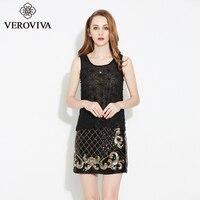 SUNVIEW Women Fashion Black Lace Sequin Vest Sexy Party Club Female Tops Elegant Slim Translucent Tank