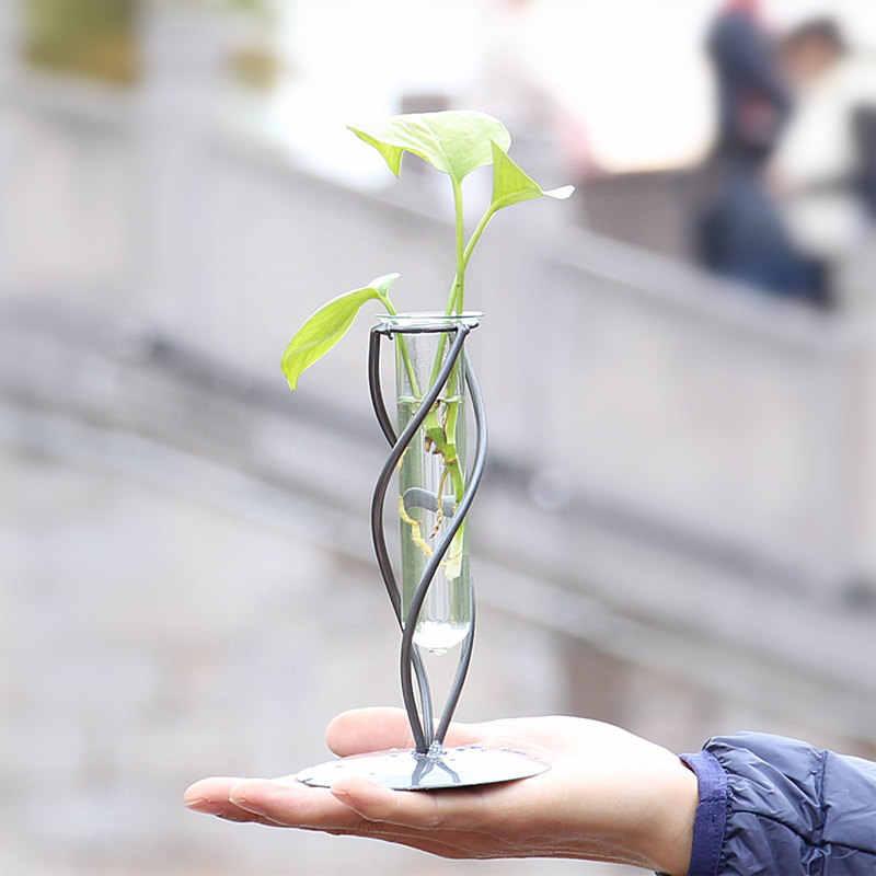 Креативная простая железная прозрачная стеклянная бутылка гидропонная ваза