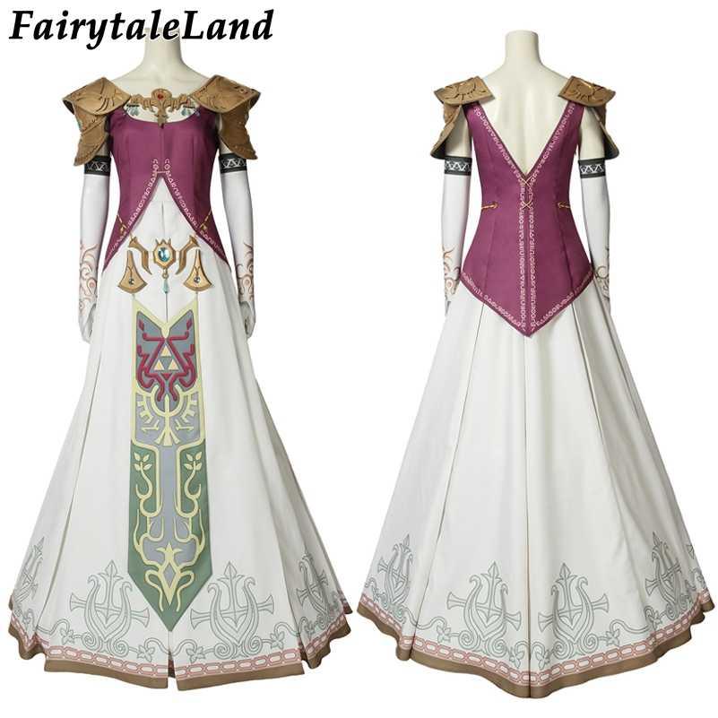 האגדה של זלדה דמדומים נסיכת קוספליי תלבושות ליל כל הקדושים זלדה נסיכת קוספליי בגדי שמלת תפור לפי מידה עם בארה 'ב