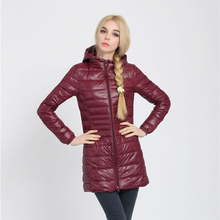 Snowka Female Warm Winter Jacket Women Coat Thin Brand 90% White Duck Down Parka Ultra-light Down Jacket Long Elegant Outwear