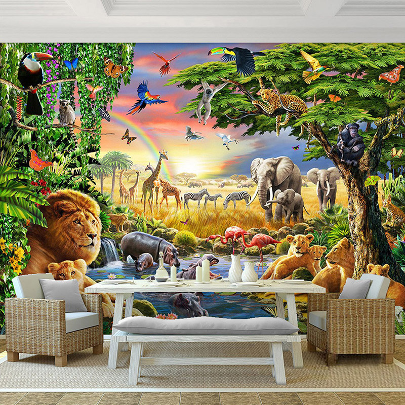 3D Wallpaper Rainbow Sky Green Forest Animal Elephant Lion Oil Painting Photo Mural Living Room Kid's Room Mural Papel De Parede book knowledge power channel creative 3d large mural wallpaper 3d bedroom living room tv backdrop painting wallpaper