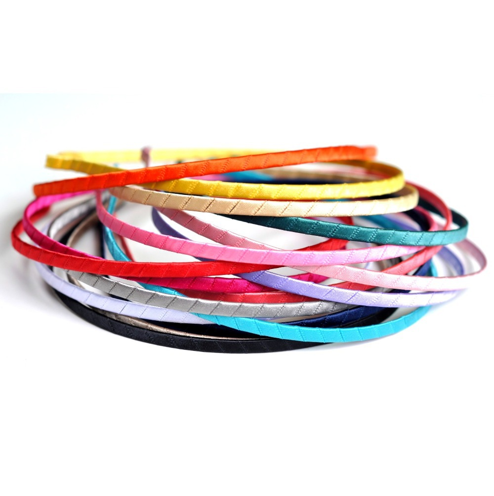 10pcs/lot 16colors 5MM Wide Metal Hard Headbands Ribbon Covered Headband For Girls Chic Satin Hairbands For Kids Accessories