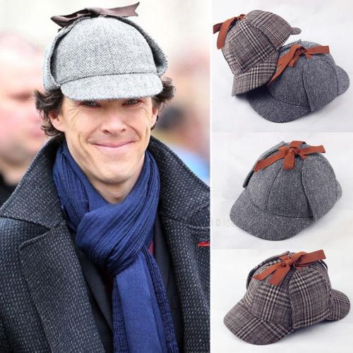 Sherlock Holmes Beret Hat Deerstalker Newsboy Flat Cap Retro Vintage Earflaps Detective Unisex Tweed Cap Cosplay Boinas Hombre
