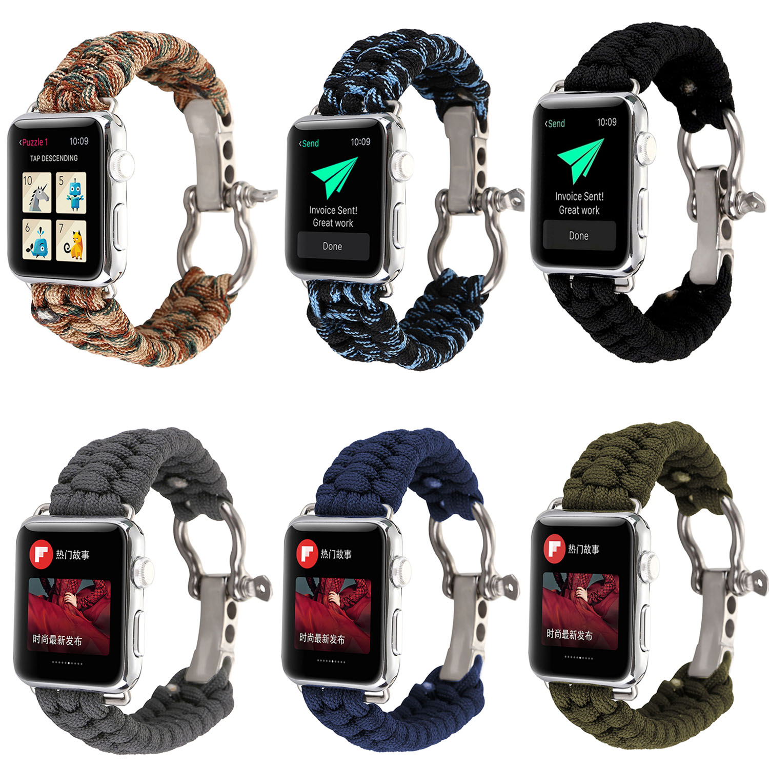 Outdoors Sports Wrist Strap For Apple Watch Band 42mm 38mm Survival Rope Metal Bolt Clasp Wristband