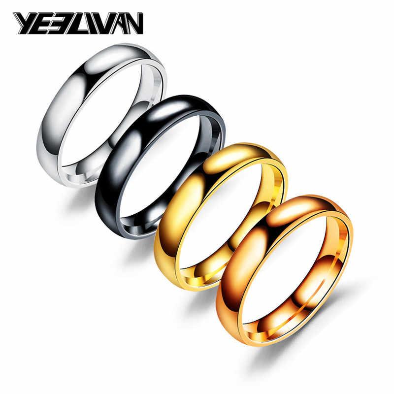 4mm anéis de casamento atacado 316l aço inoxidável moda brilhante rosto 4 cor amor casal anéis para mulheres masculino clássico jóias