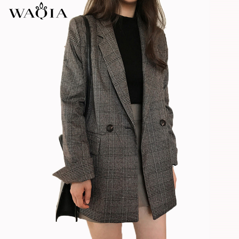 2017 New Autumn Fashion Plaid Blazer Casual Suit Women Blazer Slim Double Breasted Work Design Coat