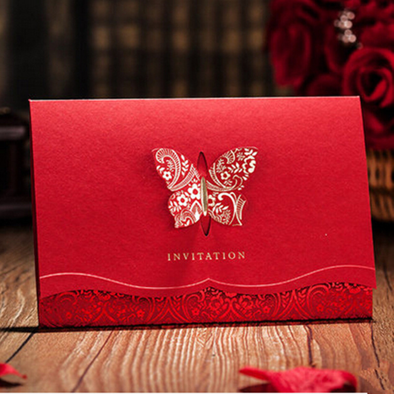 Wishmade 12pcs/lot 2D Laser-Cut Red Butterfly Wedding Invitations Card Customized & Printing Golden Foil Invites Cards CW504 от Aliexpress INT