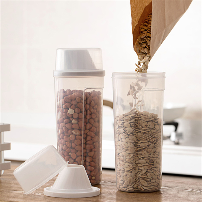 Grain Storage Box Sealed Cans Household Kitchen Plastic Covered With Transparent Jar Noodles Miscellaneous Grain Storage Cans in Bottles Jars Boxes from Home Garden