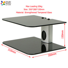 2 Tiers AV Shelf Wall Mount Black DVD Hanging Bracket Stand for Receiver Set-top Boxes/Cable Boxes/Gaming Systems