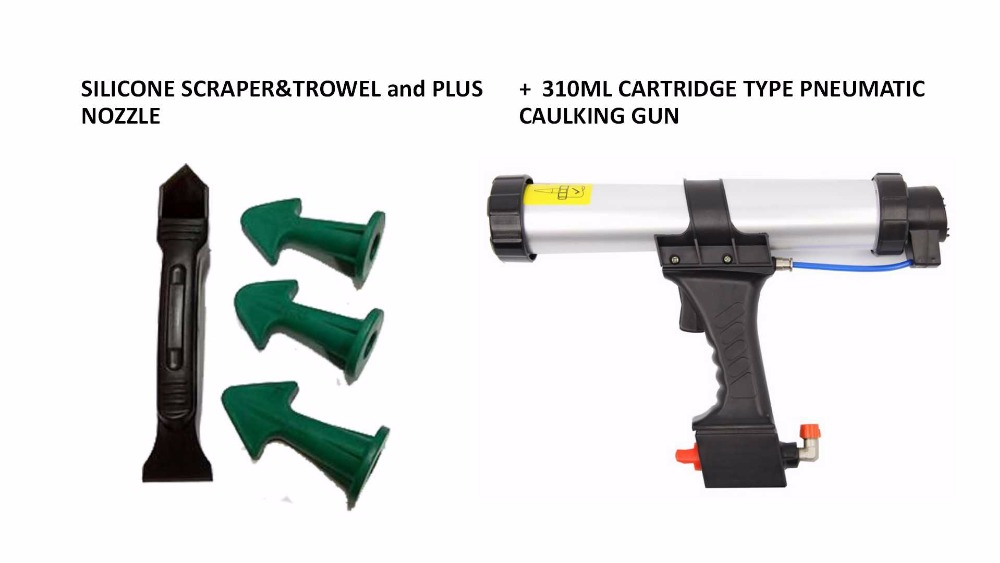 Dripless 310ml Cartridge Type Pneumatic Caulking Gun And Multi-functional Sealant Scraper And Trowel Nozzle Plus Caulking Tools