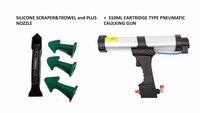 Dripless 310ml Cartridge Type Pneumatic Caulking Gun And Multi Functional Sealant Scraper And Trowel Nozzle Plus