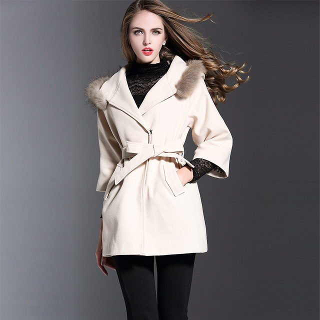 Three Quarter Sleeve Women Wool Blends 2017 New Style Plus Size 3XL 4XL Faux Fur Trim Hooded Coats YR201