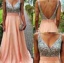 2016 Sequins Prom font b Dresses b font A Line Chiffon Sexy Deep V Neck Backless