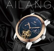 Moda Vintage AILANG Relojes Tourbillon Fase Lunar Reloj Automático Auto-viento Vestido de Los Hombres Relojes Religio Montre homme W193