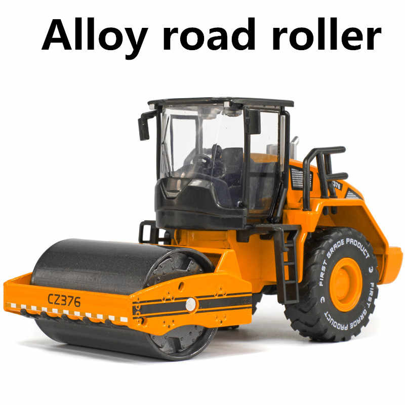 Alloy road roller model, 1:40 children's educational toys construction vehicles, children's favorite gifts, free shipping