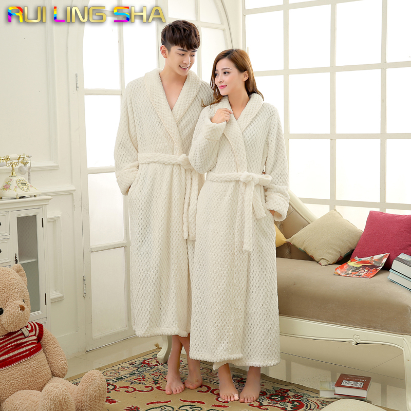 198cd6321c Detail Feedback Questions about Women Robe Winter Bathrobe Unisex Coral  Waffle Long Sleeve Knitted Sleep Dress Men Robes Lovers Fleece Robe Warm  Bathrobes ...