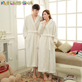 Women Robe Winter Bathrobe Unisex Coral Waffle Long Sleeve Knitted Sleep Dress Men Robes Lovers Fleece Robe Warm Bathrobes