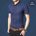 Men's Shirts Short-sleeved Plaid Shirt Casual Cotton Shirts Fashion Hight Quality Men Clothing Size:M-4XL- Free Shipping