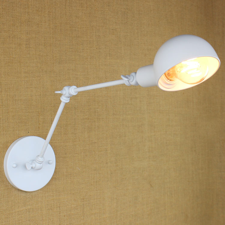 ФОТО Simple & Modern White Wall Lamp Industrial Vintage Matel Loft Foldable Swing Arm Dining Room Hallway Wall Light Free Shipping