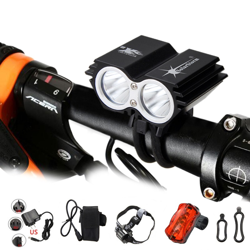 SolarStorm 1000 Lm 2x XM-T6 LED Front Bicycle Bike Light Rechargeable Headlight With 6400mAh Battery Pack+Headband+Charger