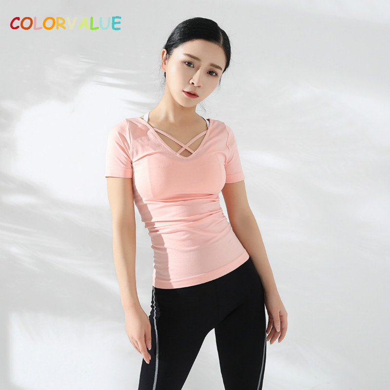 Colorvalue Chic Cross Anti-sweat Gym Sport T-shirts Women Sexy V-neck Fitness Yoga Top Tee Solid Slim Dance Shirts Short Sleeve