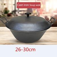 Cast Iron Pot flat Bottom Big Thick Cast Iron cooking Wok fry pan soup pot Uncoated Non stick Pot Wok Casserole Stew Pot