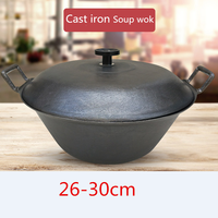 Cast Iron Pot flat Bottom Big Thick Cast Iron cooking Wok fry pan soup pot Uncoated Non stick Pot Wok Casserole Stew Pot