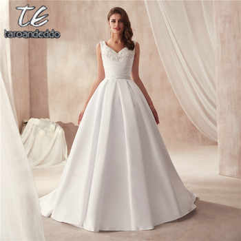 V-neck Two Pieces Matte Satin Famous Design Wedding Dress with Pocket Bridal Gown with Detachable Skirt Wedding Gowns - DISCOUNT ITEM  11% OFF All Category