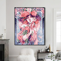 DIY Oil Painting By Numbers Painting Cartoon Character Flower Banquet Girl Home Decoration Hand Painted Paints Special Gift