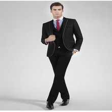 High Quality man Suits Groomsmen Notch Lapel Groom Tuxedos One Button Strips Wedding Best Man Suit (Jacket+Pants+Tie+Vest)