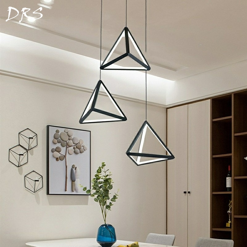 Nordic Pendant Lights Modern LED Art Hanging Lamp for Living Room Home Decor Kitchen Loft Luminaire Industrial Triangle FixturesNordic Pendant Lights Modern LED Art Hanging Lamp for Living Room Home Decor Kitchen Loft Luminaire Industrial Triangle Fixtures
