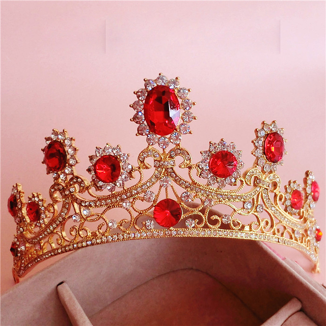 a32f36b226f30 الباروك كبيرة الذهب تاج غطاء الرأس الشعر الحلي الراقي خمر الأحمر حجر الراين الزفاف  الشعر مجوهرات