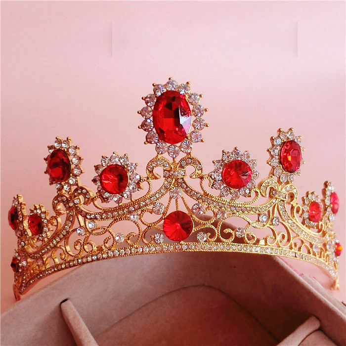 Baroque large gold crown headdress hair ornaments upscale vintage red rhinestone bridal hair jewelry wedding accessories
