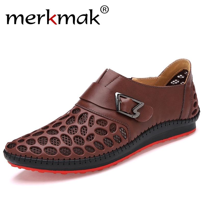 Merkmak Hommes Chaussures Casual En Cuir Véritable Chaussures Hommes De Luxe Marque D'été Loisirs Respiration Appartements Pour Hommes Nouveau 2018 Zapatos Hombre