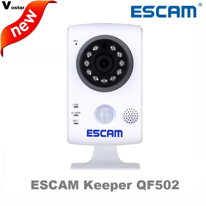 ФОТО ESCAM 1MP wifi camera QF502 plug&play support two way Audio internal PIR sensor infrared camera baby care work with door sensors