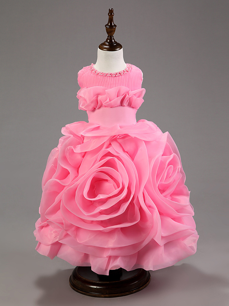 ФОТО Children Dresses Girls Ball Gown Princess Beautiful Flower Girls Dress Baby Festa Dress Lovely Party Wedding For Girl Kid Dress