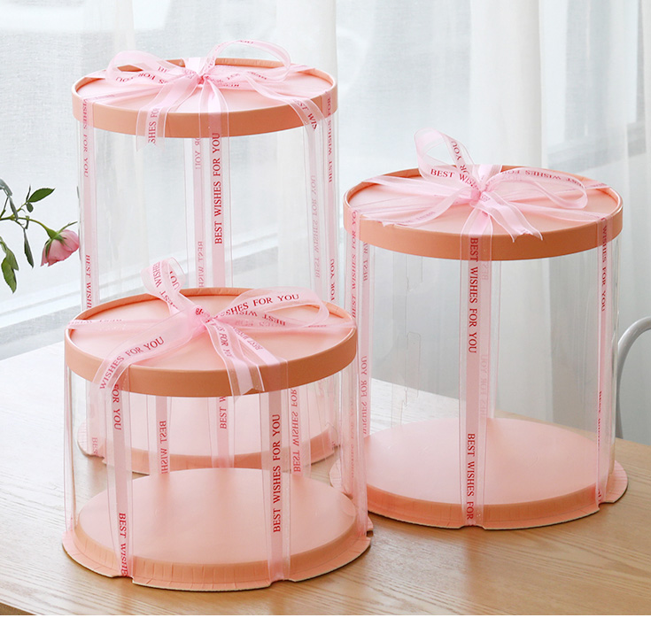 2019 New Round Cake Box Clear Round Pattern Transparent Tårtask Flower Gift Box Lego Gift Dustproof Exhibition Storage Box
