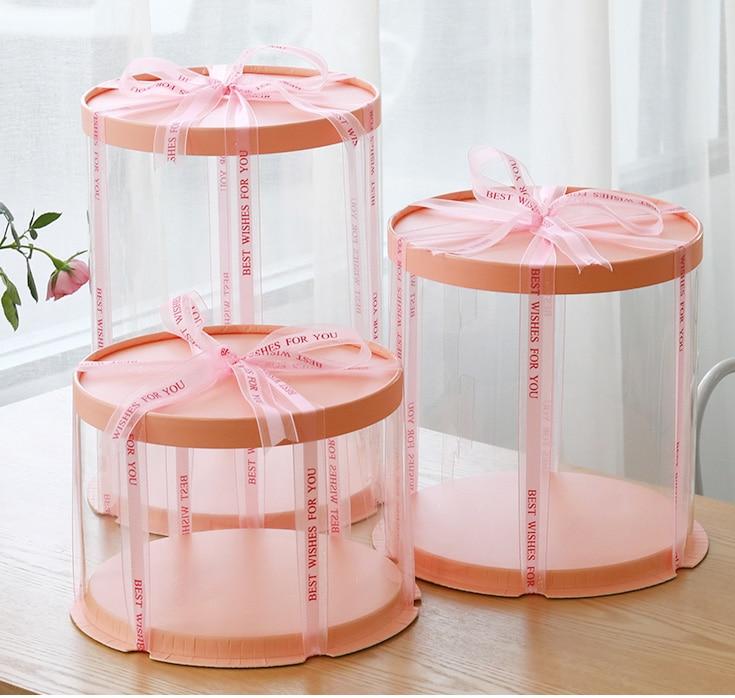 2019 New Round Cake Box Clear Round Pattern Transparent Tårtask Flower Gift Box Lego Gift Dustproof Exhibition Storage Box