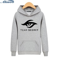 Alimoo Dota 2 TAKıM GIZLI Pamuk harajuku sweatshirt Yüksek Kalitede siyah XXL Kapüşonlu mens hoodies ve tişörtü 3xl Gri