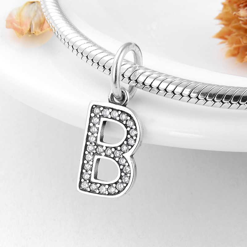 أصيلة 925 فضة الاحرف B الكريستال خرزة ساحرة ملائمة الأصلي باندورا سوار قلادة صنع المجوهرات