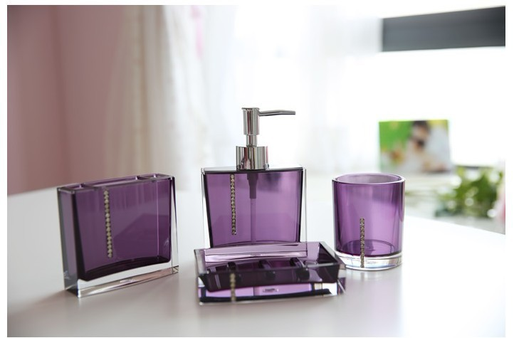 Bathroom Set 4pieces Purple 4pcs Bath