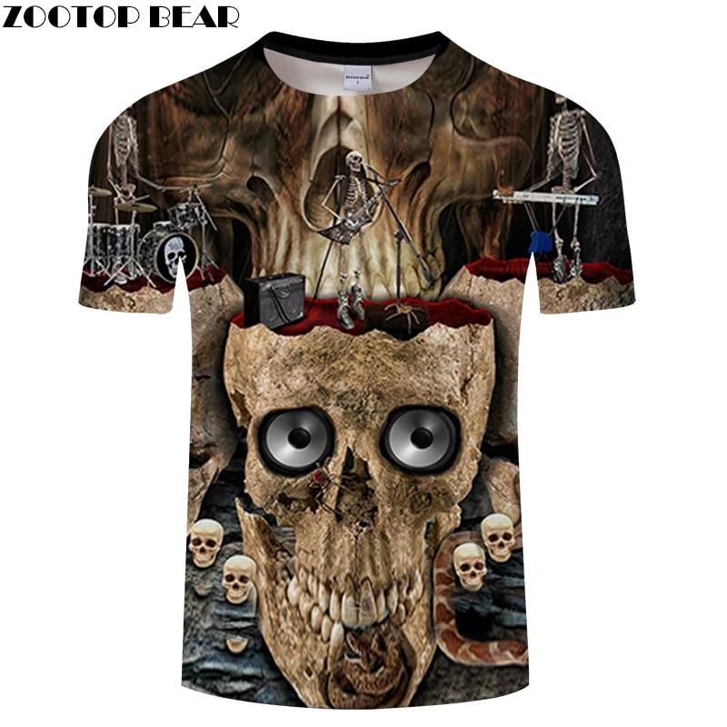 Rock 3D T shirt Men Skull t-shirt Streatwear tshirt Groot Tees Funny Tops Summer Camiseta Short Sleeve 2018 DropShip ZOOTOPBEAR