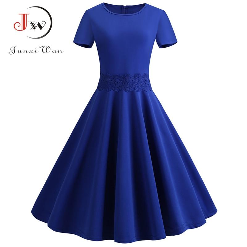 2019 Summer Dress Women Slim Elegant Lace Short Sleeve Vintage Dress Robe Casual Blue Red Plus Size Midi Office Party Dresses