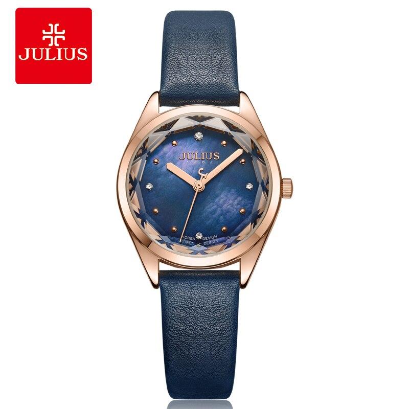 Julius Horloge 2018 Zomer Nieuwe Vrouwen Blauw Horloges Genève Dames Creative Quartz Montre Elektronische Luxe Pols Whatch Reloj JA 973-in Dameshorloges van Horloges op  Groep 1