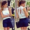 Женщины Белое Кружево Блузка Без Рукавов Спинки Blusas Femininas Camisas Бранка Feminino Женской Рубашки Феста JLU551