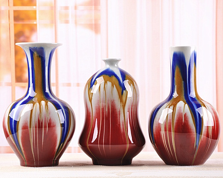 Jing de zhen Transmutation émaillé multicolore porcelaine fleur Vase ensemble fait main céramique porcelaine décoration artisanat ornement