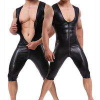 Plus Size Lingerie Sexy Men's Suspender Leather Wrestling Catsuit Latex Singlet Bodysuits PU Teddies Clubwear Men